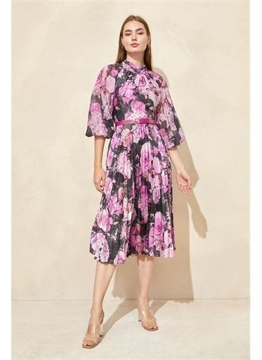 Setre Somon Floral Desen Piliseli Elbise Fuşya